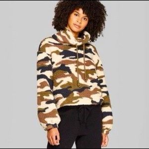 Wild Fable Camo Fuzzy Cropped Sweatshirt